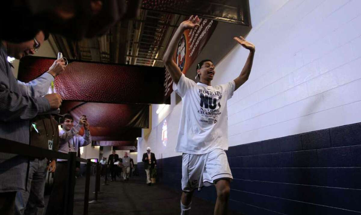 Connecticut Jeremy Lamb (3) races for the locker room following the Huskies victory over Butler in the NCAA National Championship at Reliant Stadium on Monday, April 4, 2011, in Houston. Connecticut won the game 53-41. ( Karen Warren / Houston Chronicle )