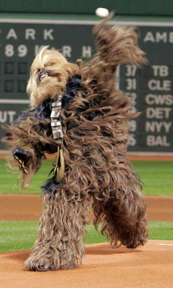 "Prior to a game between the Boston Red Sox and Toronto Blue Jays an actor playing Chewbacca throws out the ceremonial first pitch at Fenway Park, Boston, September 28, 2005. Chewbacca was promoting the ""Star Wars: Where Science Meets Imagination"" exhibit at the Museum of Science in Boston. REUTERS/Adam Hunger Photo: ADAM HUNGER, REUTERS / X01873"