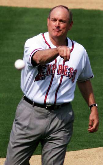 Hall of Famer Nolan Ryan makes the ceremonial first pitch before the Round Rock Express home opener