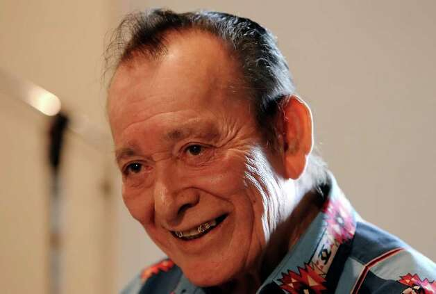 Grammy-winning conjunto legend Flaco Jimenez will be making one of his last solo albums. The album will feature collaborations with some of Jimenez's closest friends such as: Henry Zimmerle, Fred Ojeda, Nick Villareal and Toby Torres. The group gathered at Toby's Custom Recording Studio on Friday, Jan. 28, 2011. Photo: KIN MAN HUI, Kmhui@express-news.net / San Antonio Express-News