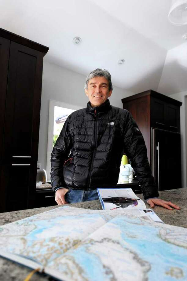 "Cos Cob resident, explorer, author and venture capitalist Luc Hardy is taking an expedition to the North Pole. Hardy, 55, says ""I will be pulling an 80-kilo or 180-pound sled attached with a rope to my waist for 8-10 miles a day for 15 days."" Photo: Anne W. Semmes / Greenwich Citizen"