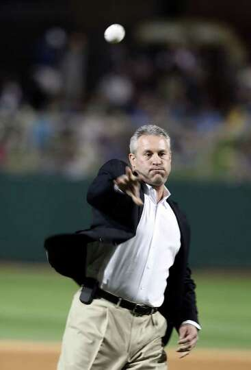 GLENDALE, AZ - MARCH 04:  Former player Steve Sax of the Los Angeles Dodgers throws out the first pi