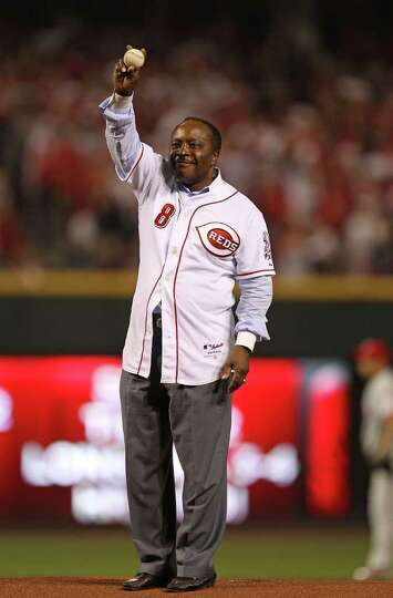 CINCINNATTI - OCTOBER 10: Former player Joe Morgan waves to the crowd before throwing out a ceremoni