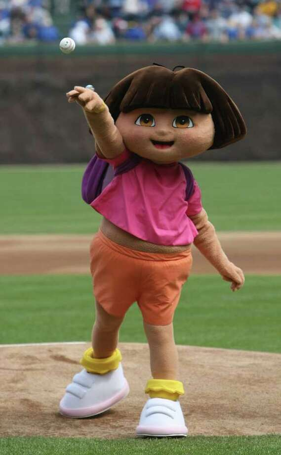 CHICAGO - APRIL 19: A Dora the Explorer costume characterthrows out a ceremonial first pitch before a game between the Chicago Cubs and the Pittsburgh Pirates on April 19, 2008 at Wrigley Field in Chicago, Illinois. The Cubs defeated the Pirates 13-1. Photo: Jonathan Daniel, Getty Images / 2008 Getty Images