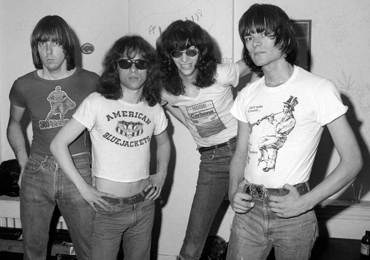 The Ramones backstage at Arcadia Ballroom in New Haven in 1976.