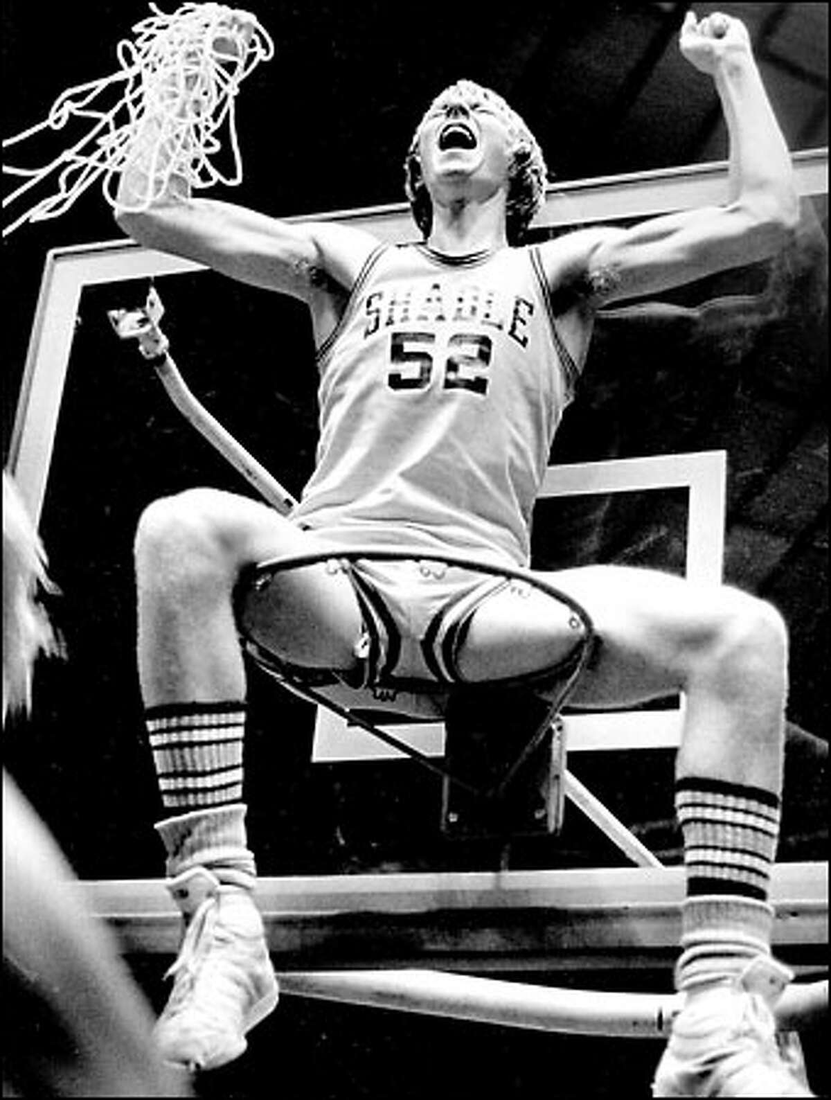 Shadle Park's Scott Poole celebrates his team's victory over Mercer Island in the 1981 boys Class 3A state championship game.