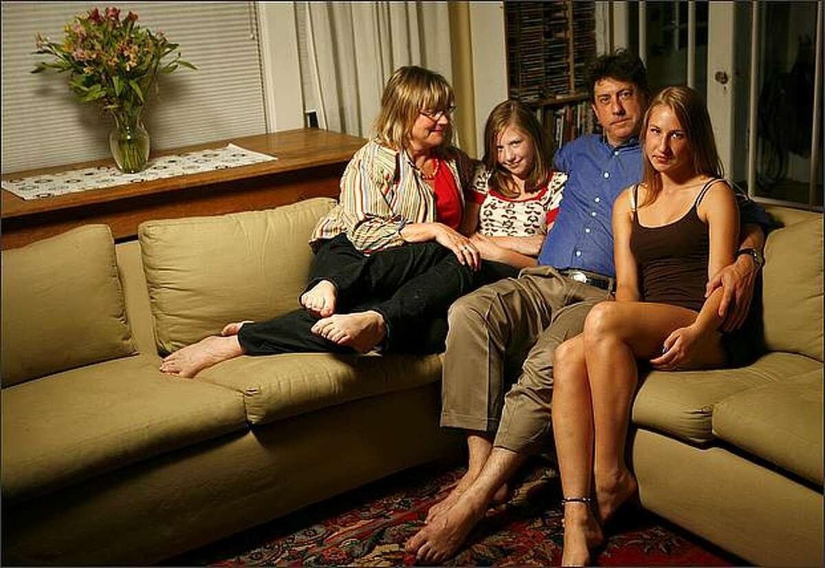 Kristina Hagman, daughter Nora Masler, 12, dad Daniel Masler and daughter Kaya Masler, 16, photographed on Tuesday, September 16, 2008 at their home in Seattle.