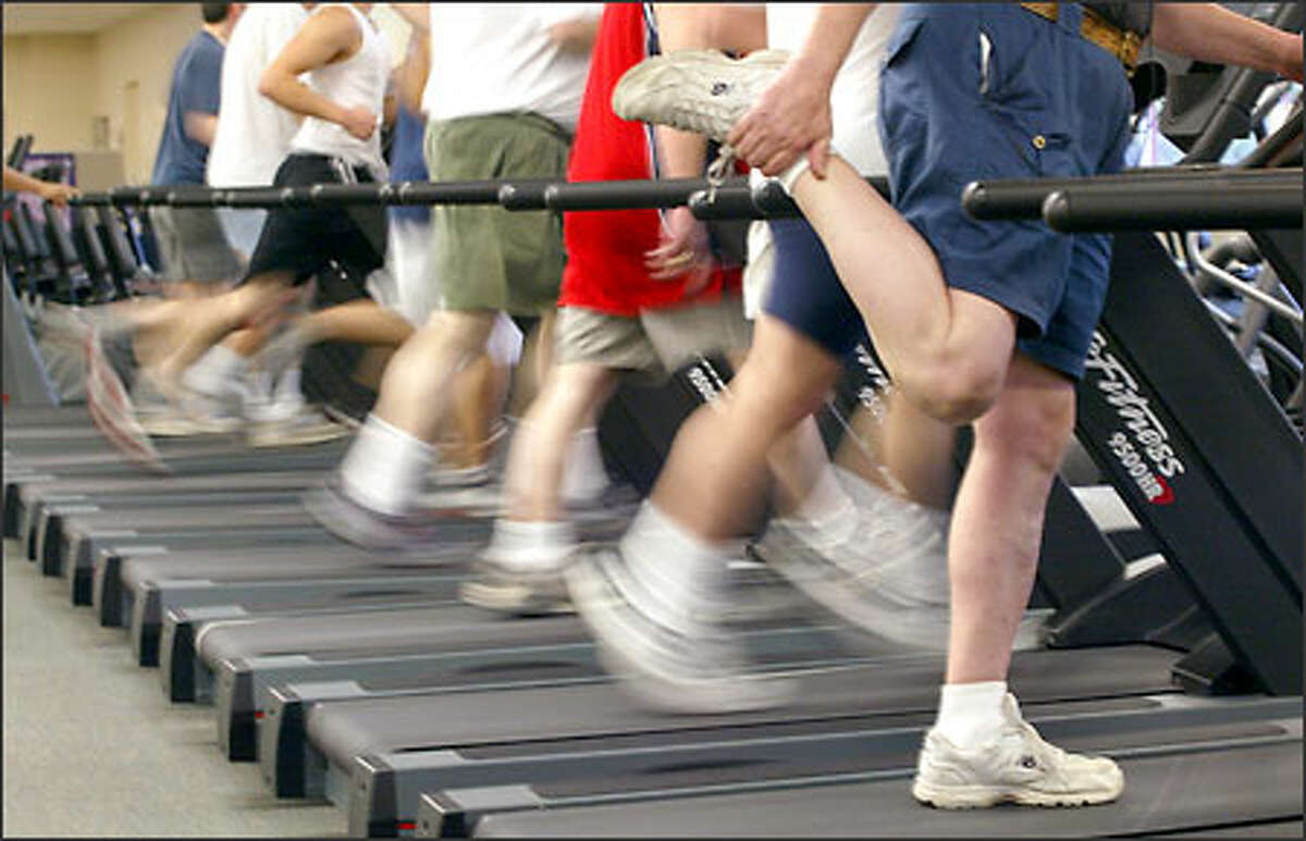The running machines get a workout at Mieko's Fitness. The opening of 119 health clubs in the state this year is linked to an increased interest in fitness.