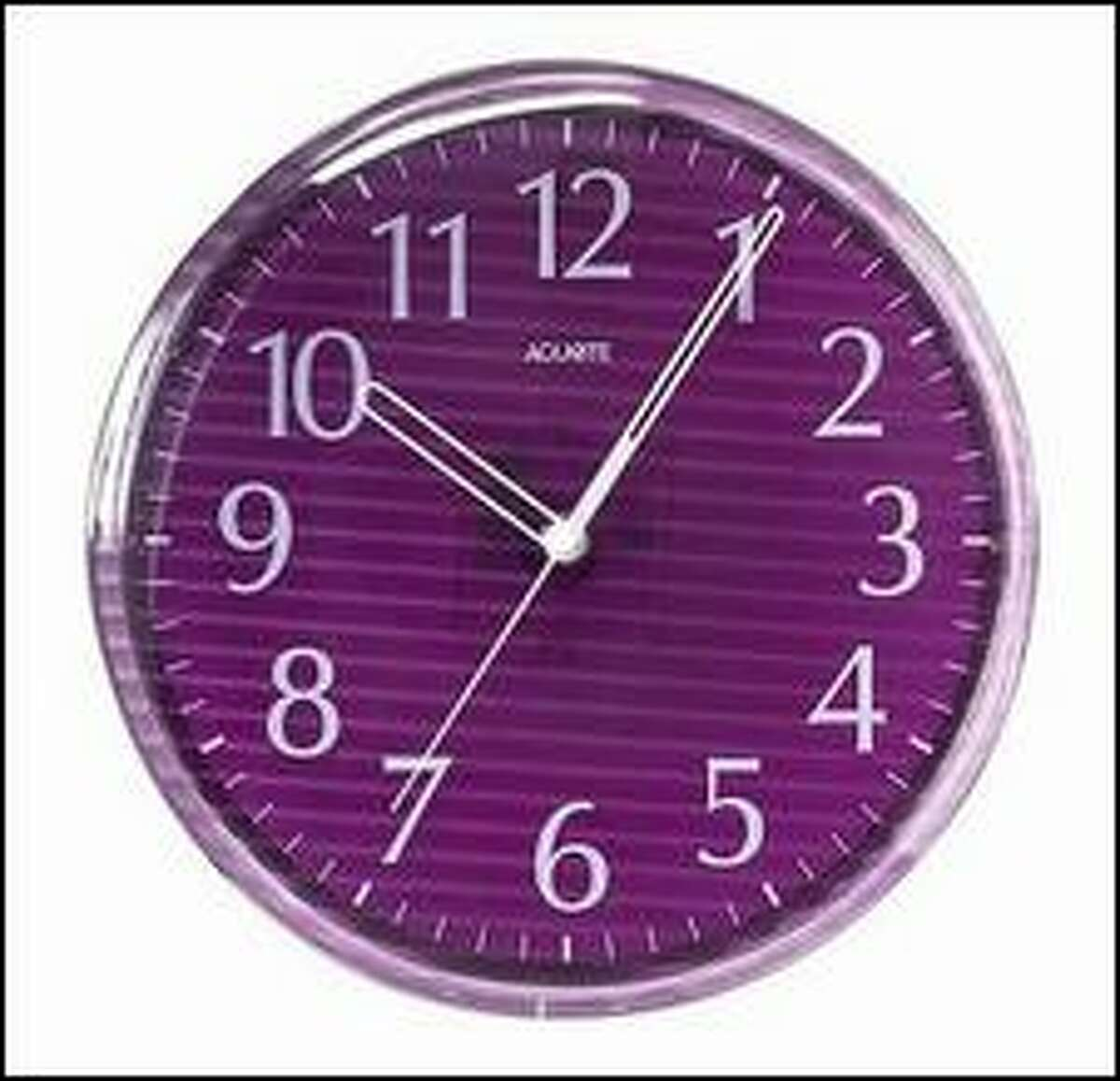 This clock sells for $28.85 at The Purple Store.