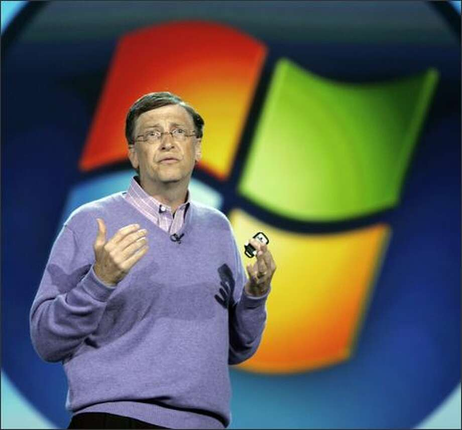 Microsoft chairman Bill Gates speaks at keynote address at the Consumer Electronics Show in Las Vegas, Sunday, Jan. 6, 2008 . (AP Photo/Paul Sakuma) Photo: Associated Press / Associated Press