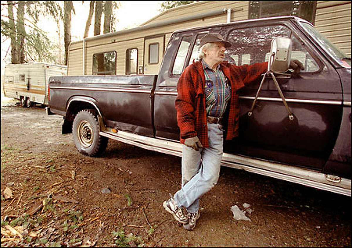 Former log-truck driver Jerry Trussell at the campsite where he lives.