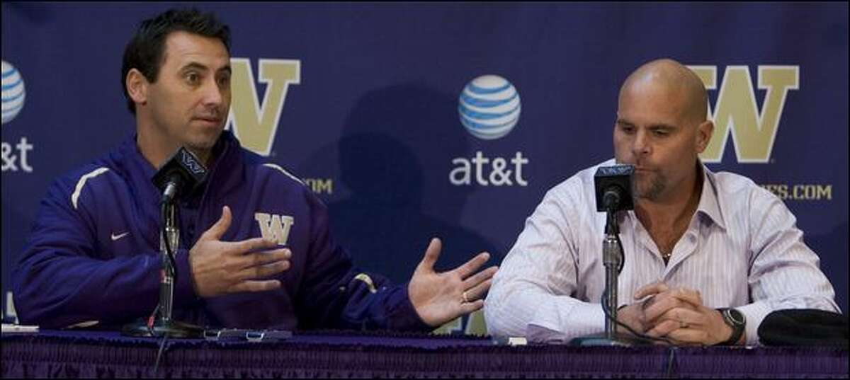 UW football coach Steve Sarkisian introduces defensive coordinator Nick Holt to the media Tuesday.