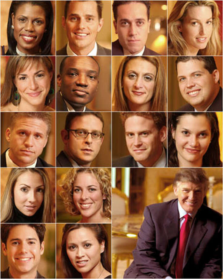 """The Apprentice"" features, from top left, Omarosa Manigaul-Stallworth, Bill Rancic, Sam Solovey, Kristi Frank, Eveka Vetrini, Kwame Jackson, Heidi Bressler, Bowie Hogg, Troy McClain, David Gould, Nick Warnock, Jessie Conners, Katrina Campins, Amelia Henry, Jason Curis, Tammy Lee, Donald Trump. Photo: NBC / NBC"
