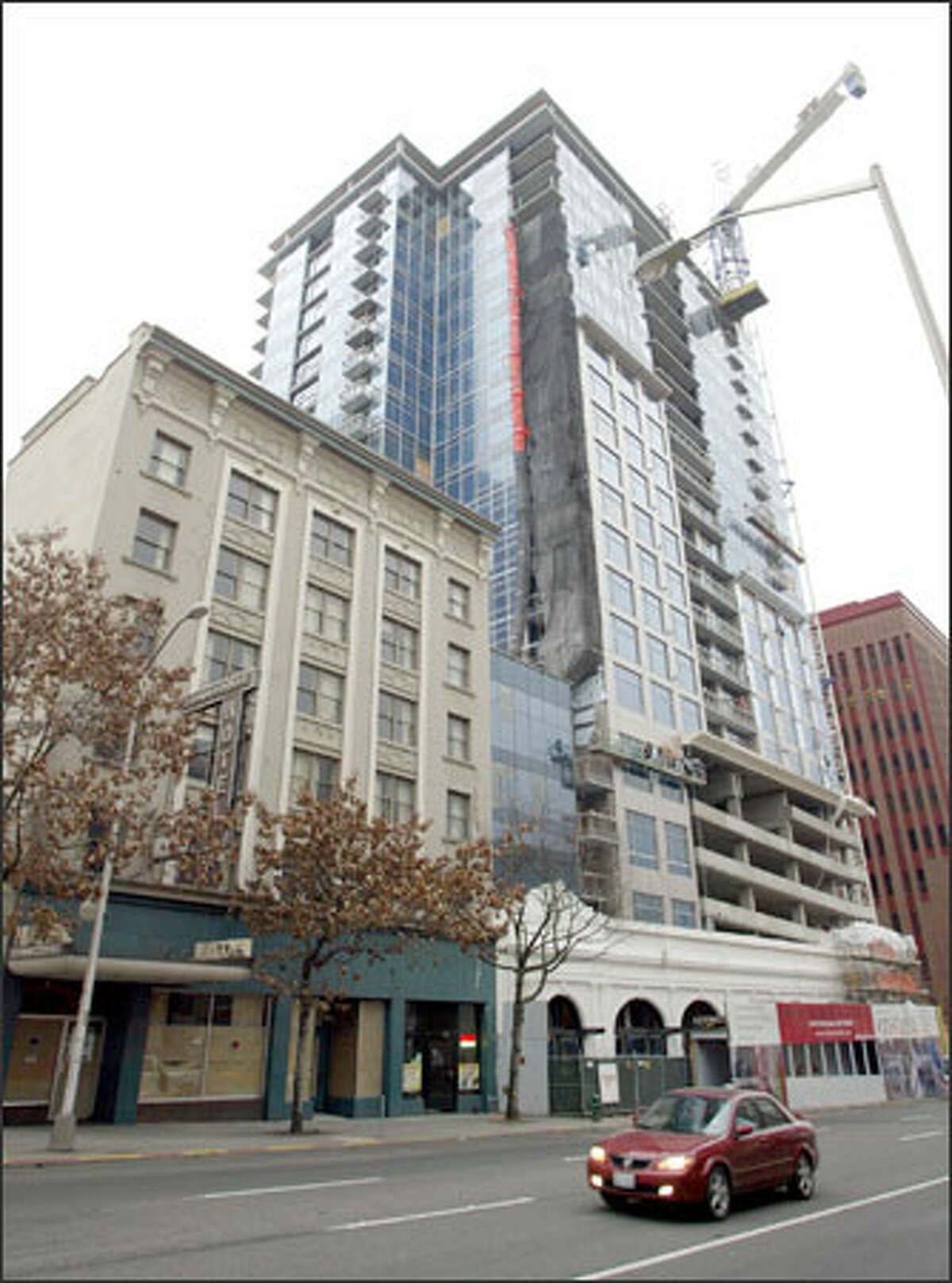 The Cristalla building at Second and Lenora was built under today's 240-foot height limit. Mayor Greg Nickels wants taller, more slender buildings.