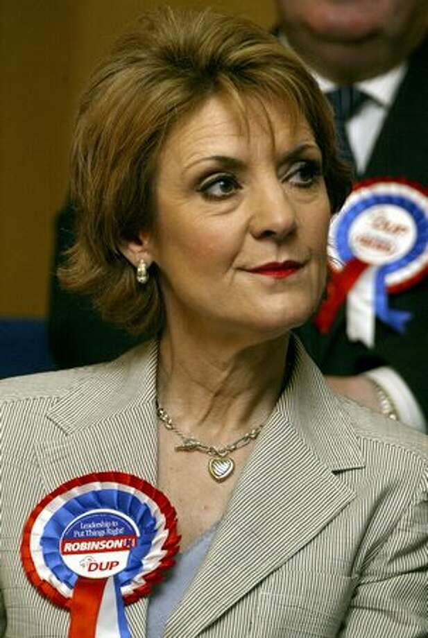 Democratic Unionists Party member Iris Robinson looks on during the launch of their election manifesto in this April 2005 file photo. Photo: Getty Images / Getty Images