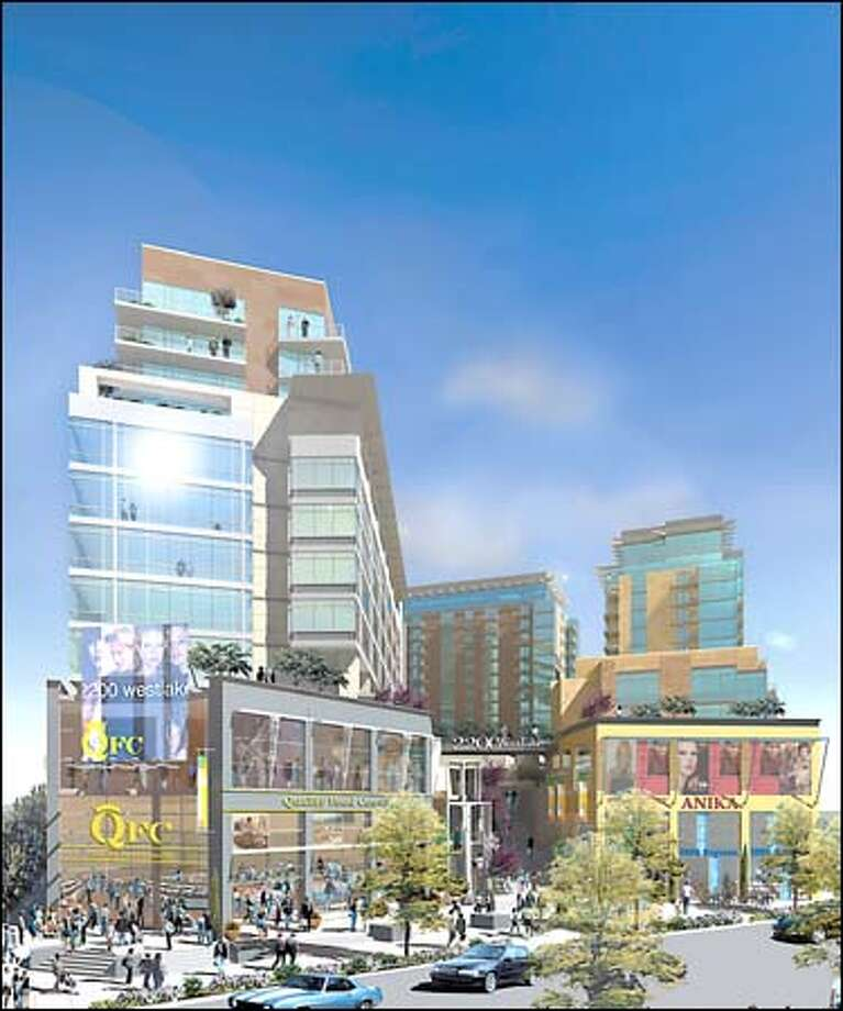 This is an artist's rendering of the residential and business development planned for 2200 Westlake Ave.