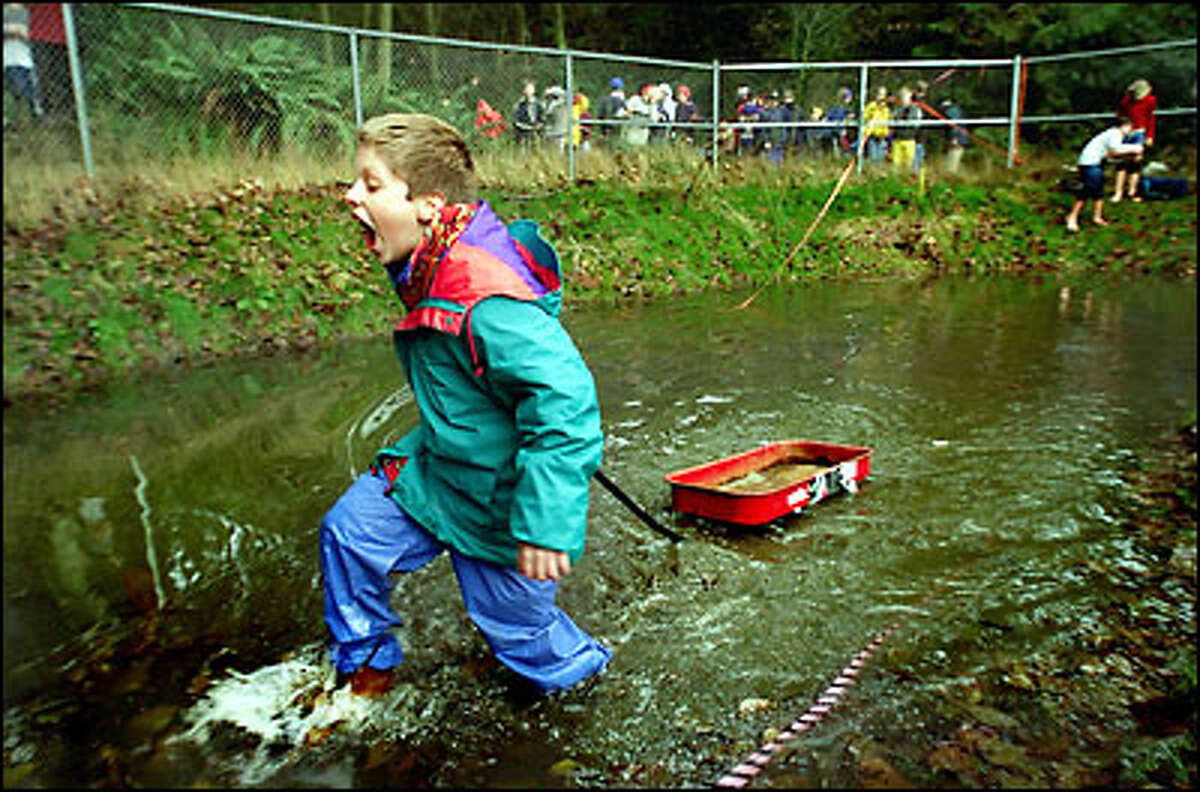 Pulling a wagon, Bronson Kolde, a seventh-grader at Lakeside Middle School, crosses the chilly waters of a retaining pond used to simulate a river crossing during the school's
