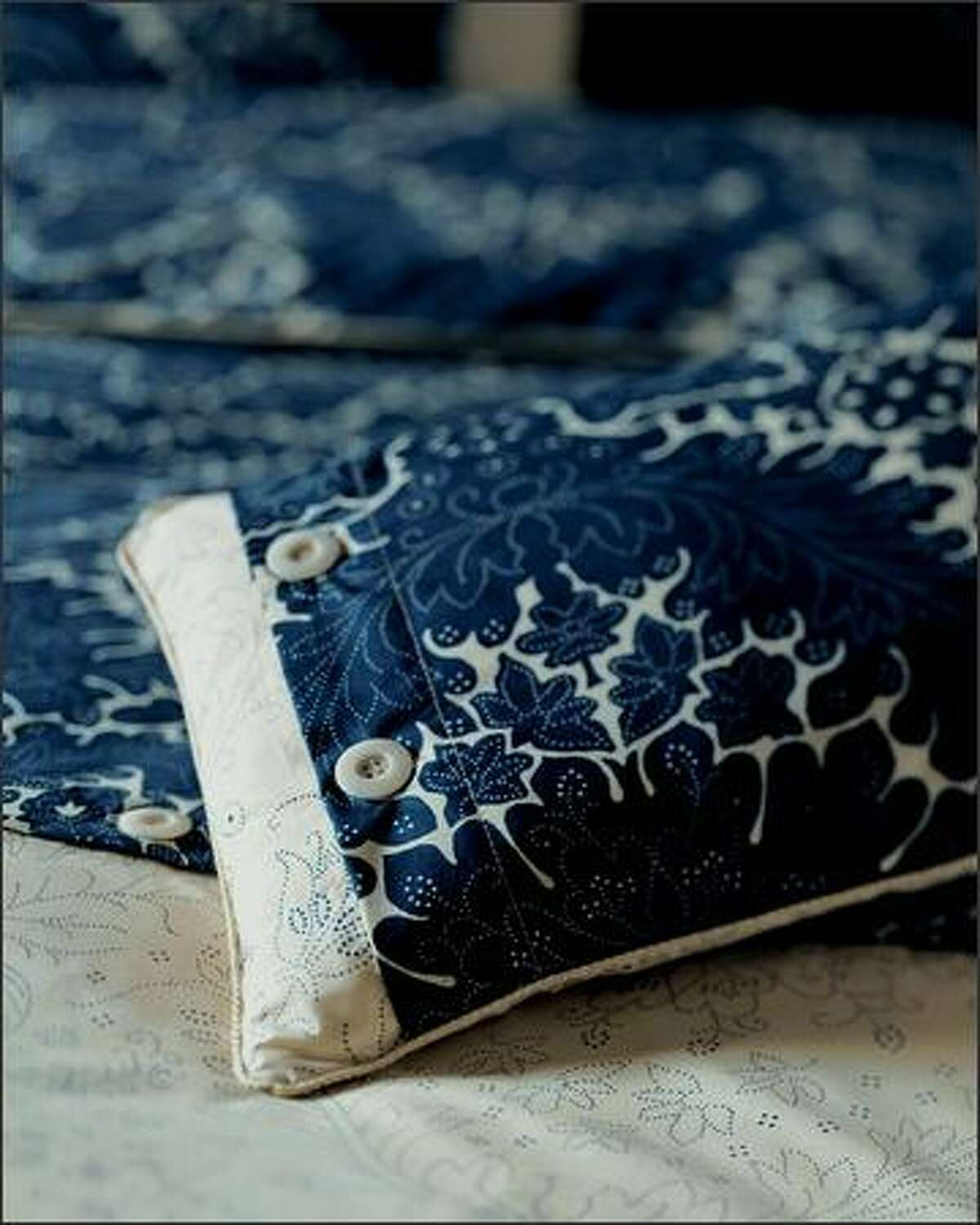 """""""Indigo"""" bed linens from Yves Delorme use Indanthren dyes, which allow the pattern to remain strong while giving the fabric a fine """"hand"""" or feel."""