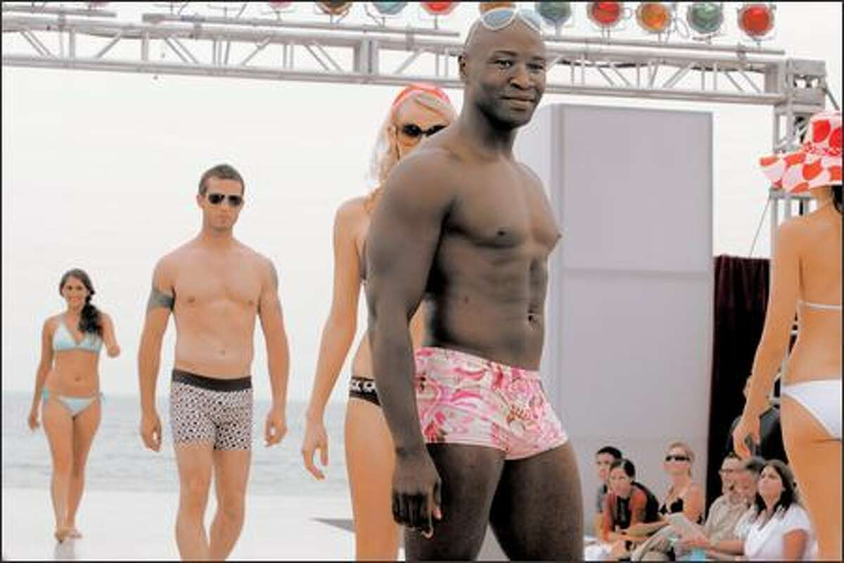 """On """"The Apprentice,"""" teams were asked to design a line of men's and women's swimwear. But buyers didn't like Carey's skimpy suit."""