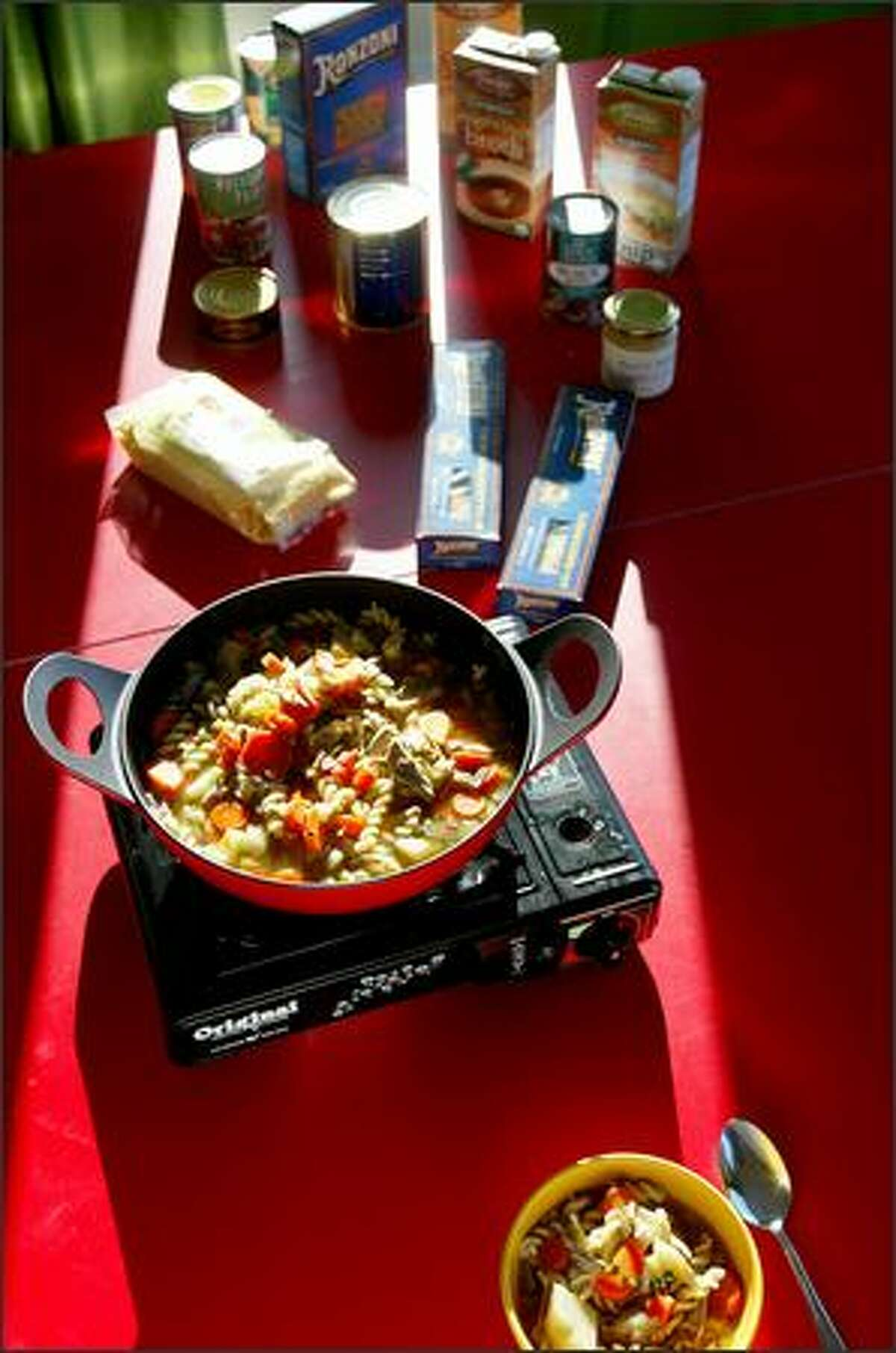 You don't have to resort to dry cereal when the power goes out. Get a butane stove and keep a stash of good supplies and you'll eat in style. If you have good chicken or mushroom stock, you can work magic with other preserved products and foods in the refrigerator.