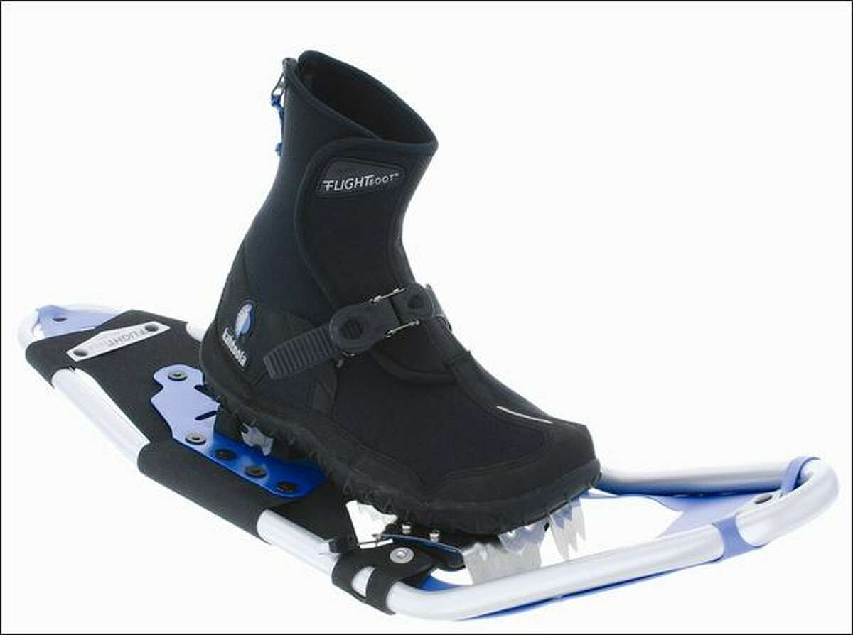 Kahtoola Inc. FLIGHTsystem is in two parts, boots and snowshoes.