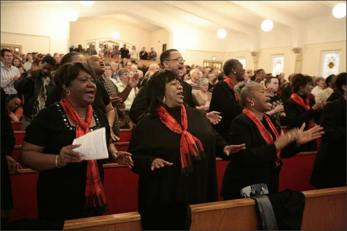 Members of the First AME Fame Choir celebrate the life of Martin Luther King, Jr., at First AME Church in Seattle on January 18, 2008, the eve of Martin Luther King Jr. Day and two days before the inauguration of Barack Obama.