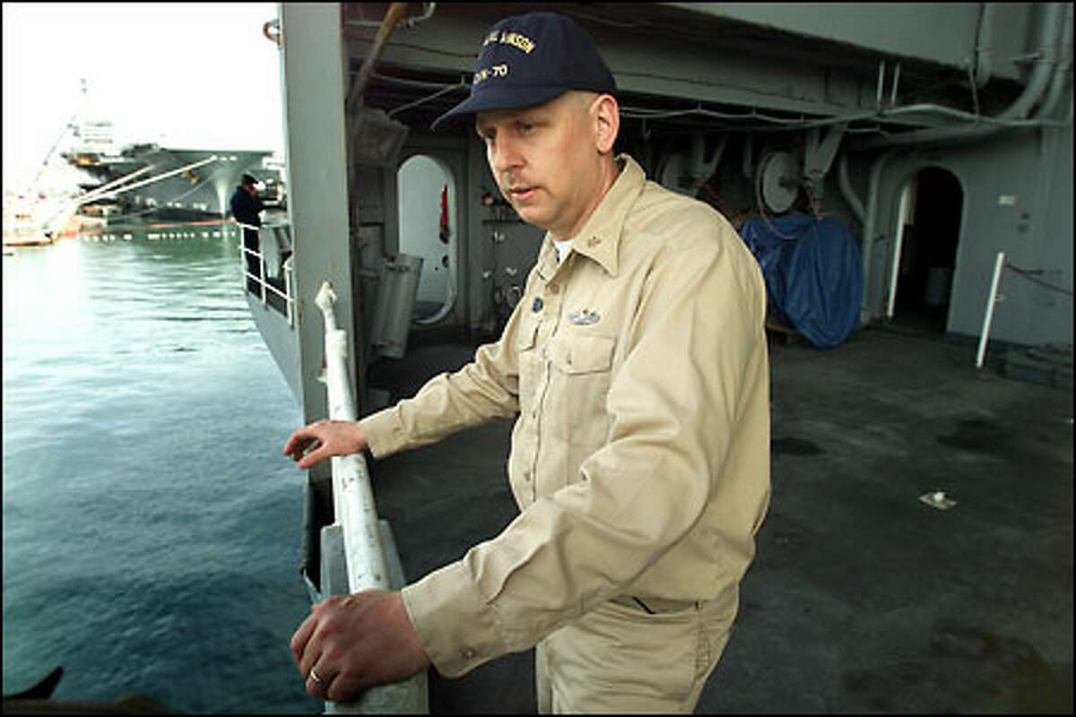 Aboard the USS Carl Vinson, Chuck Roberts waits to get home.