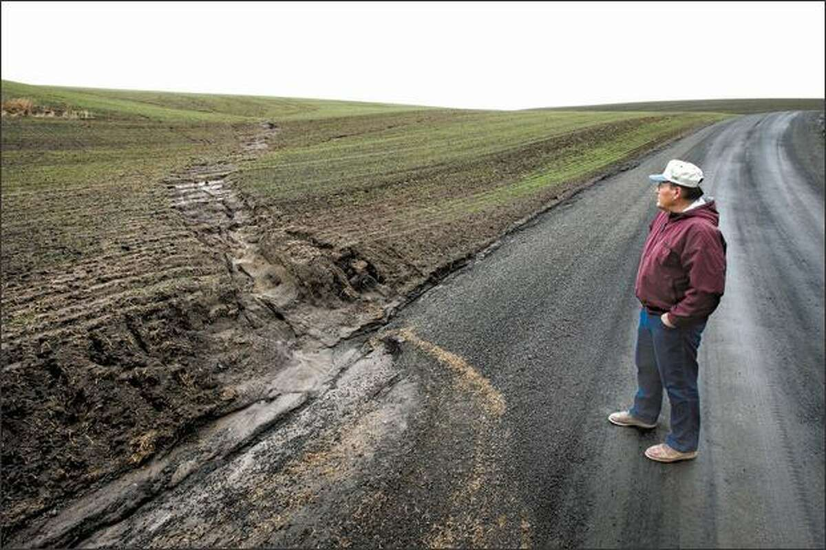John Aeschliman shows a spot where rain has washed soil from a neighboring farmer's property onto the road. Aeschliman says his method of farming, in which plants are seeded directly into the remains of the previous crop without tilling, gives stability to the soil, enabling it to retain water and preserve the organic matter within it.