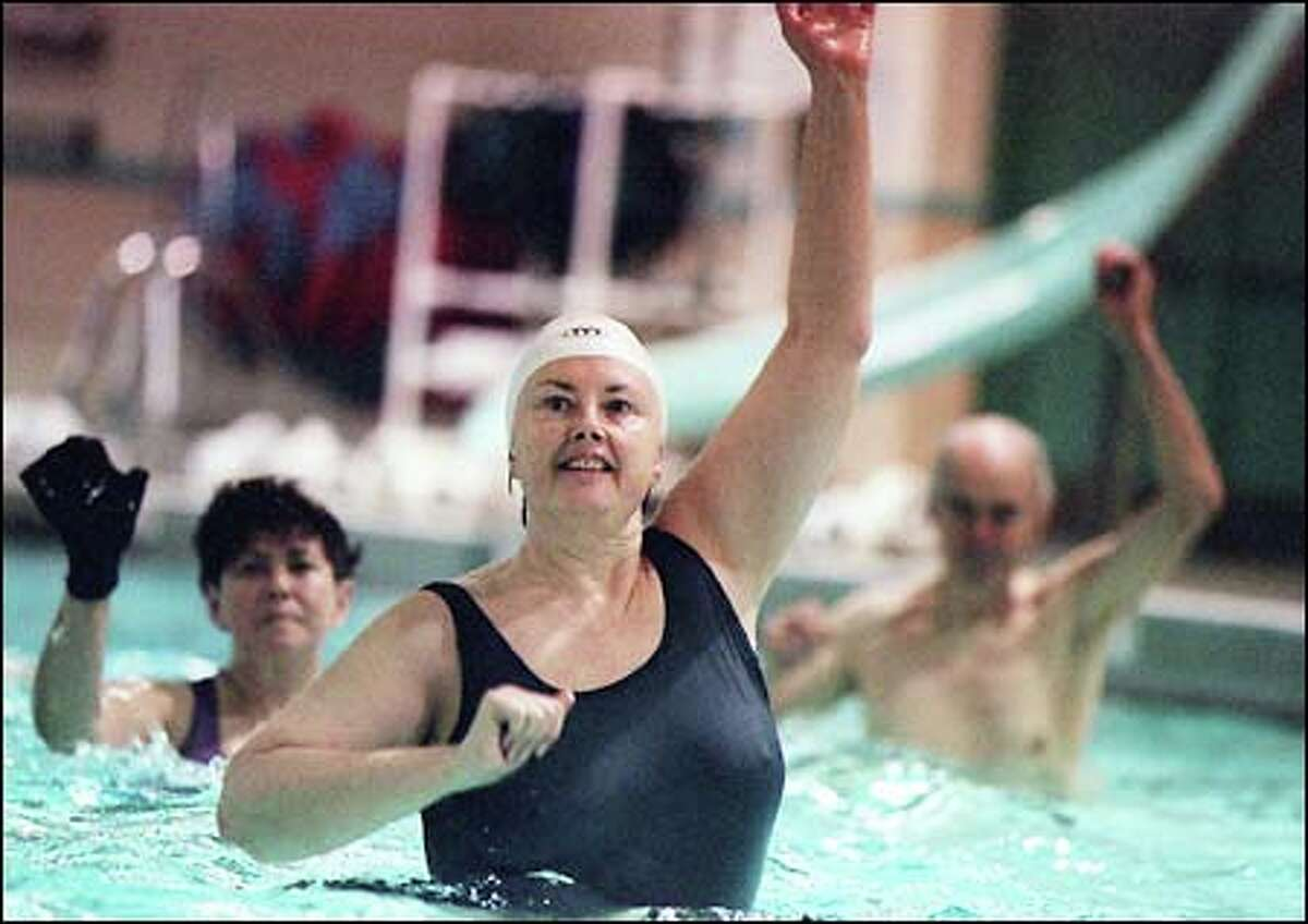 For those not drawn to the deep end, there is plenty of aerobics at the shallow end as Jane Bigelow knows from her class at Evans Pool at Green Lake. She has been doing aquatic aerobics for 20 years.