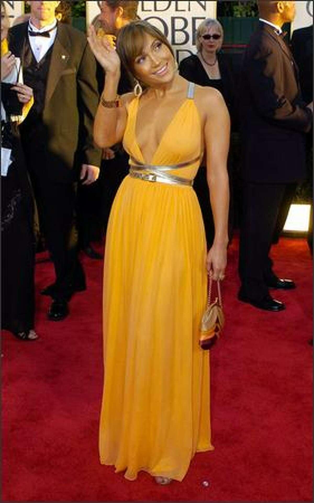 Jennifer Lopez arrives for the 61st Annual Golden Globe Awards. (AP Photo/Mark J. Terrill)