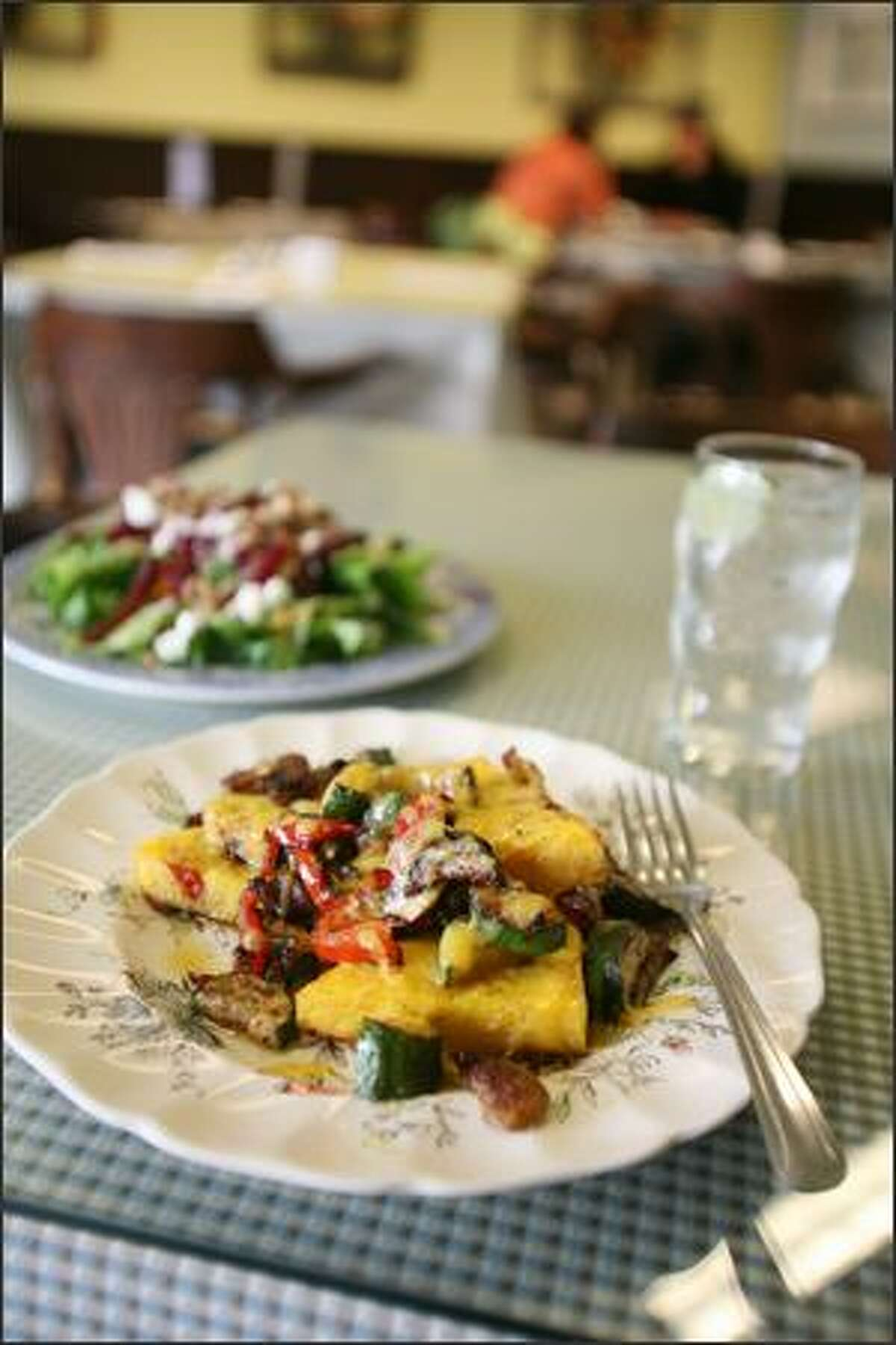 Owner Patty Carow uses overstock from her catering business to enhance her lunch menu, like polenta with roasted vegetables and a beet salad with chevre.