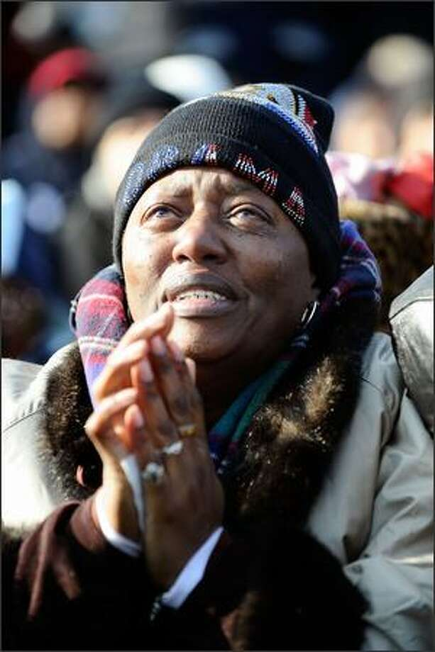 Patricia Brown of Atlanta, Georgia, reacts during the inauguration of Barack Obama as the 44th President of the United States on the National Mall, Jan. 20, 2009 in Washington, D.C. Photo: Getty Images / Getty Images