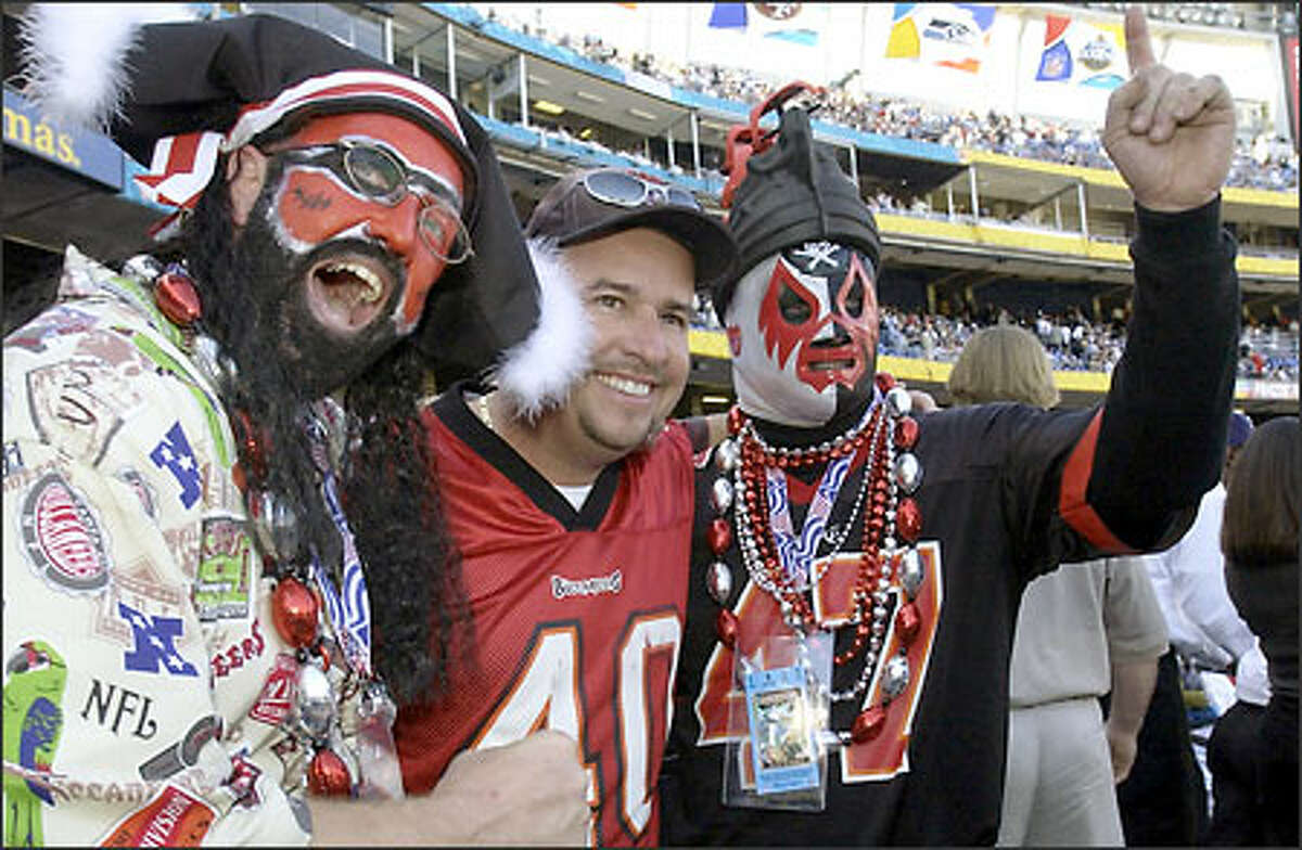 Tampa Bay Buccaneers fans get together prior to the start of Super Bowl XXXVII pitting their team against the Oakland Raiders in San Diego.