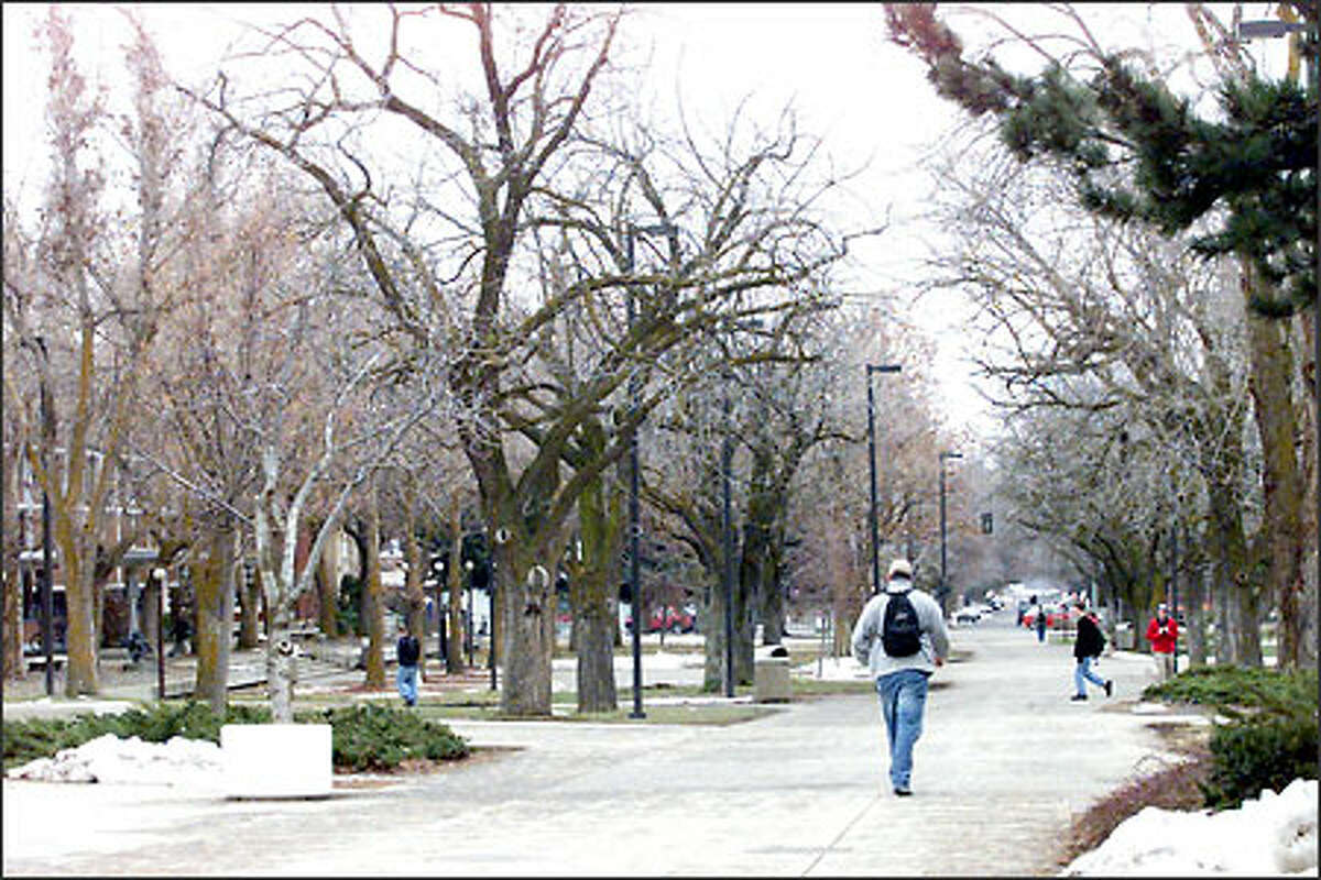 The Central Washington University campus in the small town of Ellensburg features long and wide walkways.