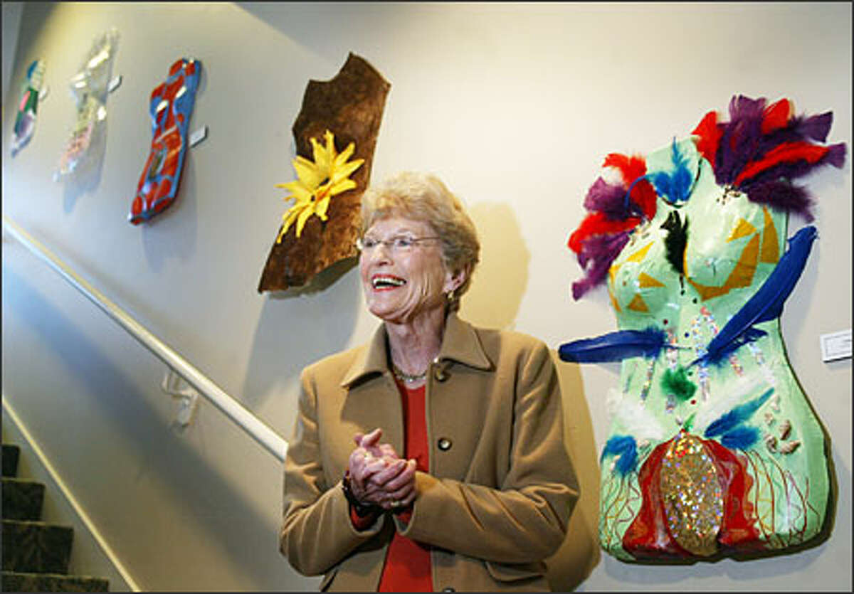 """""""This was a 10-year dream,"""" Barbara Frederick says of the Cancer Lifeline facility at Green Lake. It's adorned with artwork by clients and friends. This exhibit is titled """"Torso."""""""
