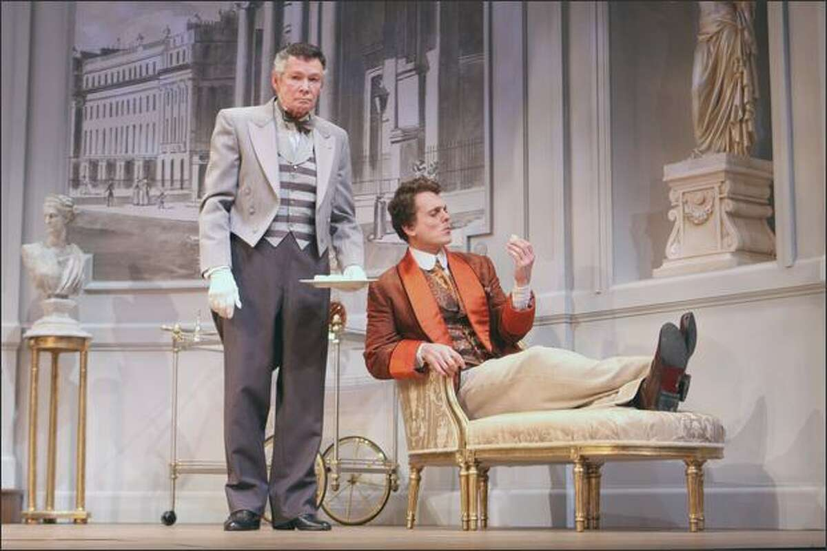 """""""The Importance of Being Earnest,"""" with Clayton Corzatte, left, as Lane and Jason Collins as Algernon, provides ample laughs at the Village Theatre."""