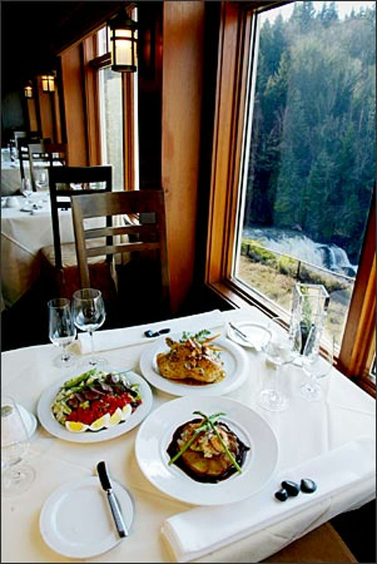 The main dining room at Salish Lodge and Spa offers great service and woodsy views.