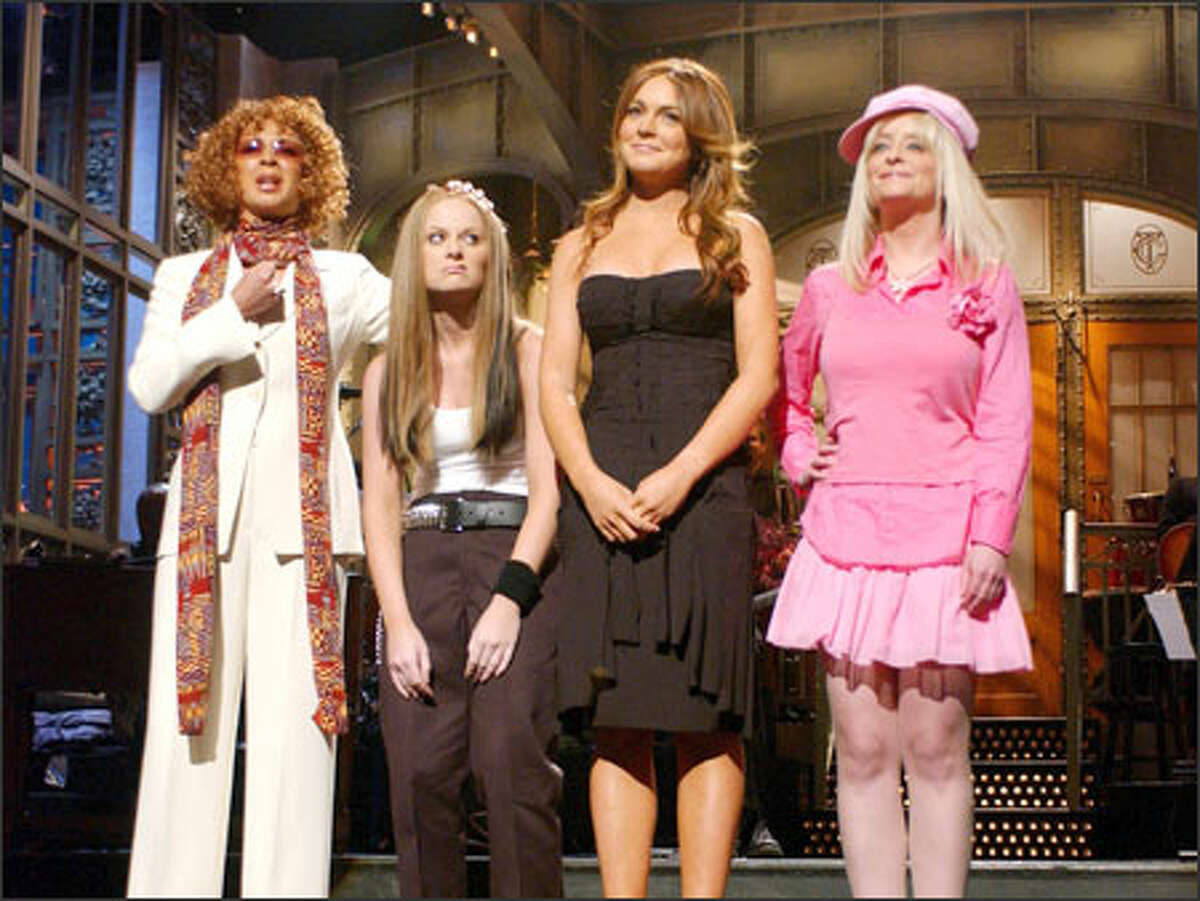 A fence-mending skit is on tap when Lindsay Lohan, second from right, hosts