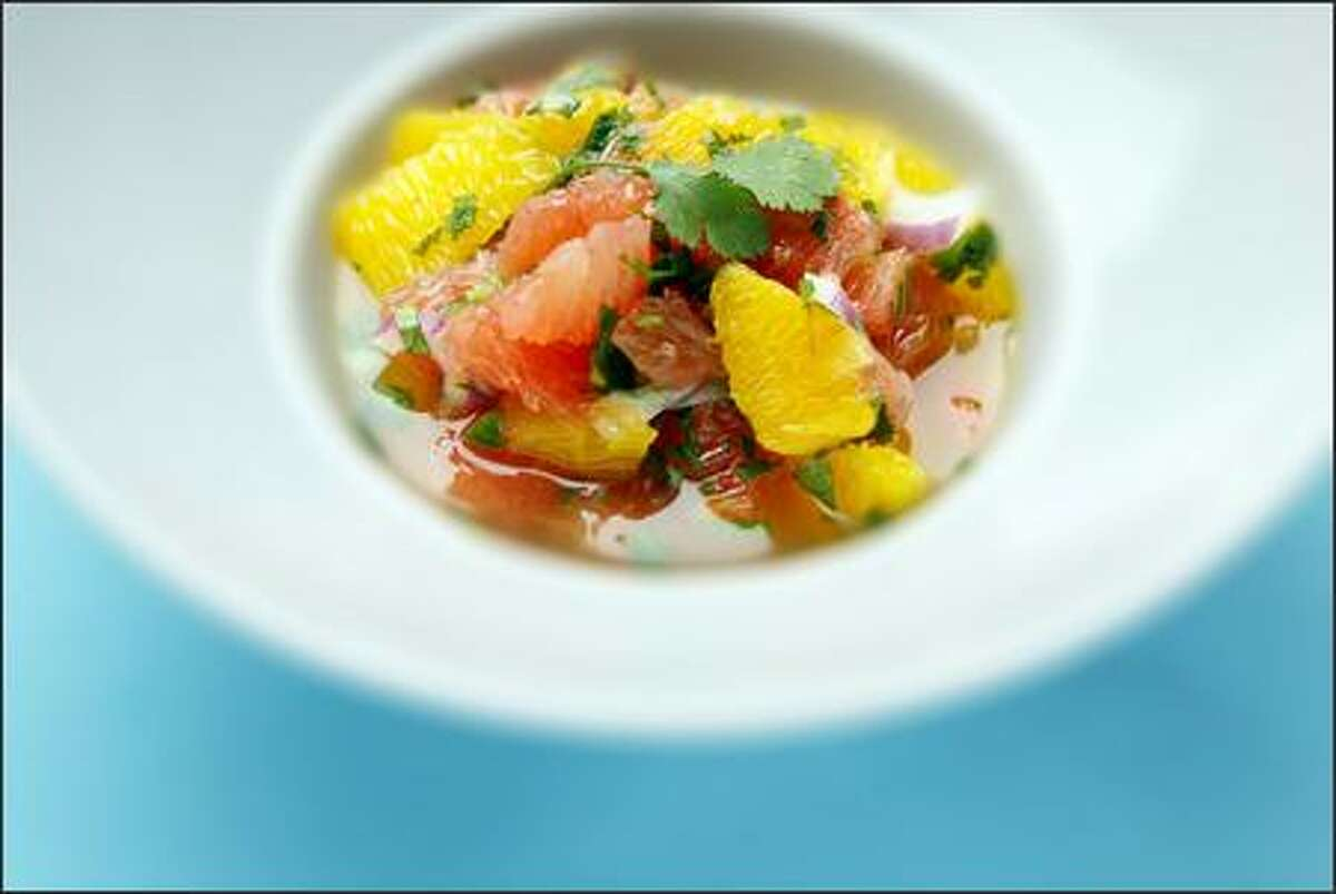 Grapefruit-Orange Salsa gets its spice from cilantro, serrano chiles and red onion.