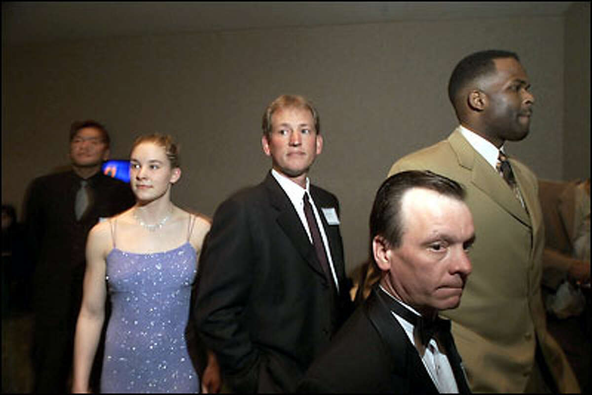 P-I Sports Star nominees wait to be introduced: (From left) Kazuhiro Sasaki, Megan Quann, Rick Neuheisel, Gallyn Mitchell and Nate McMillan.