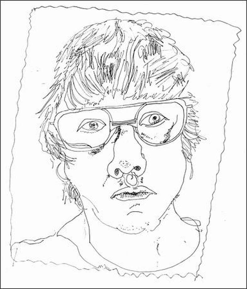 "A self-portrait by writer and ""fauxbeaux"" William Vollman."