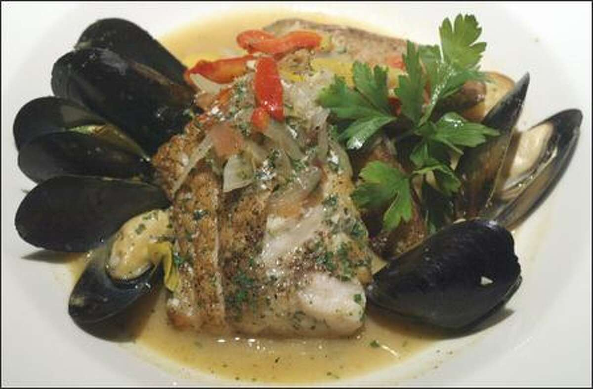Moxie serves its Alaskan ling cod ($18) with mussels and fingerling potatoes in a piperade sauce. The rich broth, with julienned vegetables, makes the dish seem almost like a seafood stew.