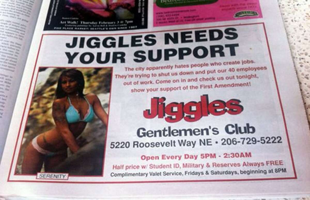 This ad appeared in the February 3rd edition of The Stranger newspaper.