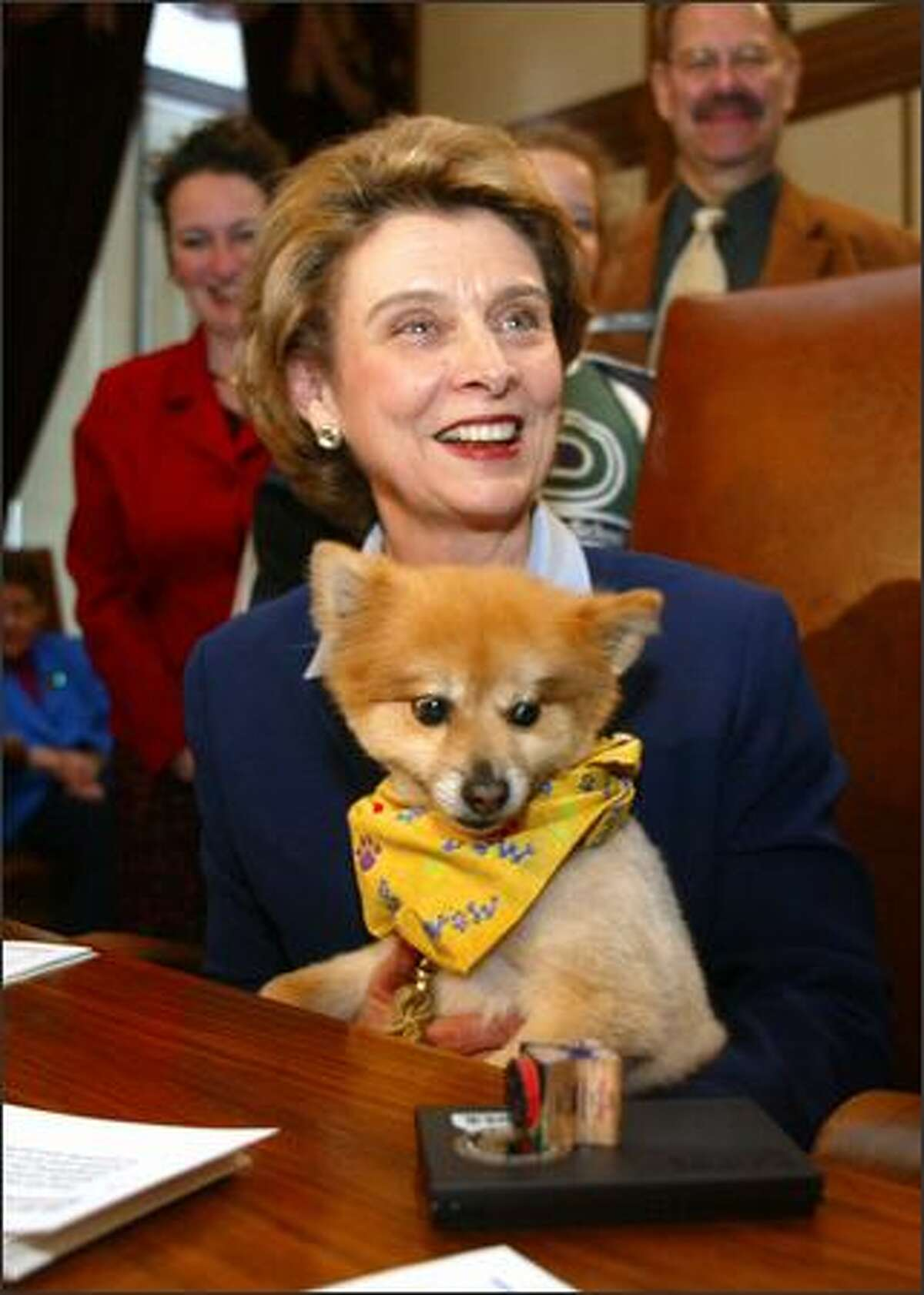 Gov. Chris Gregoire holds