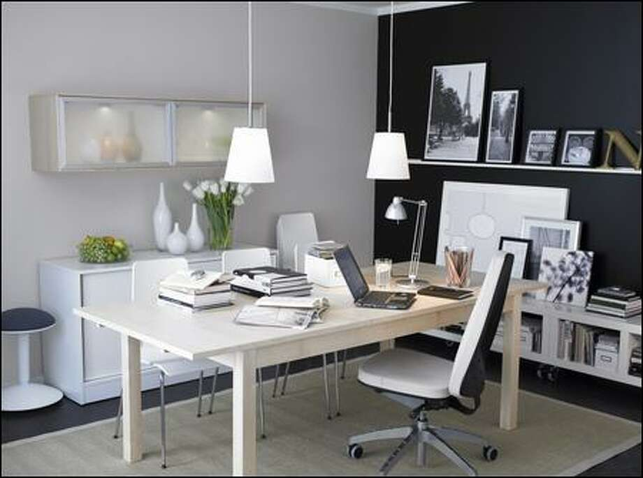 ABOVE AND RIGHT: Here are two more home office concepts offered by Ikea. Aside from a phone and computer, concentrate on four components: the chair, desk, lighting and storage. (Ikea)