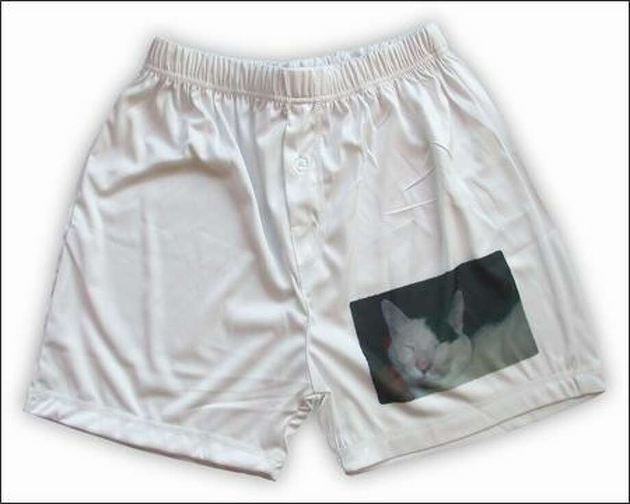 This photo of kitty Musetta adorns a pair of boxers custom printed by Snapfish.com. The shorts, $19.99, can be personalized with most digital photos. Other imprintables include baseballs and teddy bears.