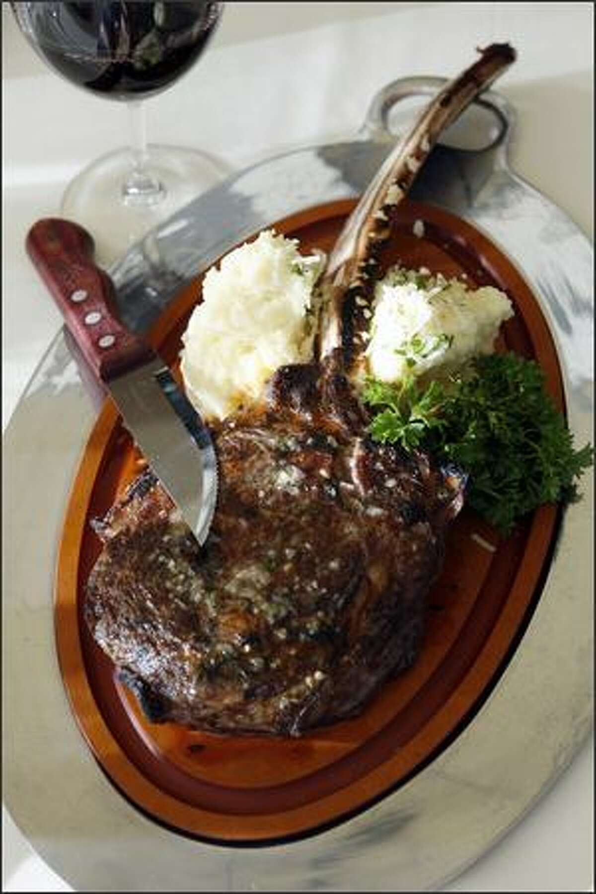 A 36- to 38-ounce double-cut bone-in rib chop at Daniel's. If you need more, go for the
