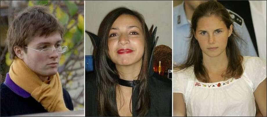 Undated file photos, from left, Italian student Raffaele Sollecito, slain 21-year-old British woman Meredith Kercher and her American roommate Amanda Knox. An American student and the British woman she is accused of killing were friendly at first but then drifted apart, their roommate testified Saturday. Filomena Romanelli took the stand in the trial of Amanda Knox and Knox's Italian former boyfriend Raffaele Sollecito, who are charged with murder and sexual violence in the killing of Meredith Kercher. Both deny wrongdoing. Photo: Associated Press / Associated Press