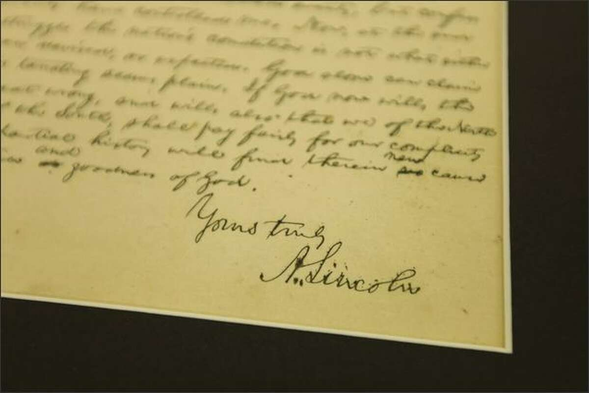 A letter written by Abraham Lincoln from 1864 is one of the Lincoln items in the conservation division of the Library of Congress in Washington, D.C.