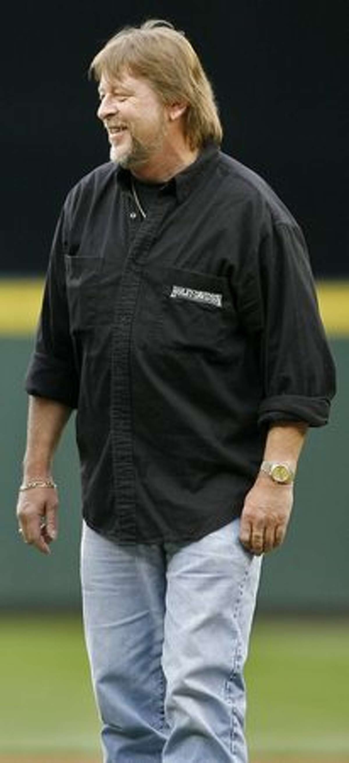 Captain Phil Harris looks on during the ceremonial first pitch before a Seattle Mariners game at Safeco Field in Seattle on May 8, 2008.